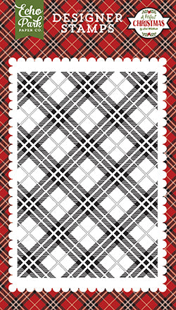 Echo Park Background Stamp - A Perfect Christmas - Holiday Plaid