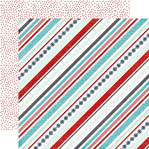 Echo Park Papers - A Perfect Winter - Snowy Stripe - 2 Sheets