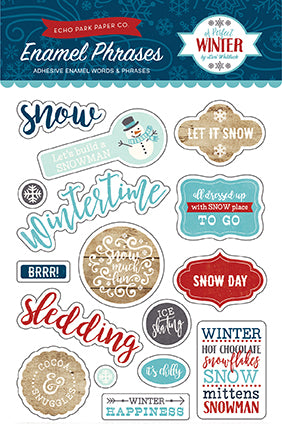 Echo Park Enamel Stickers - A Perfect Winter - Phrases