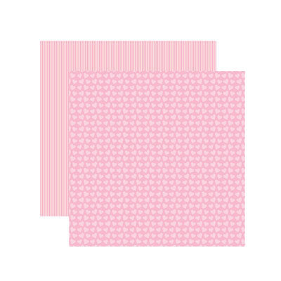 Reminisce Papers - Baby Basics - Baby Girl Hearts Shimmer - 2 Sheets