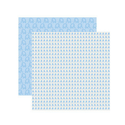 Reminisce Papers - Baby Basics - Baby Boy Elephant Shimmer - 2 Sheets