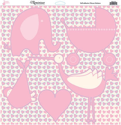 Reminisce 12x12 Cardstock Stickers - Baby Basics - Girl - Icons