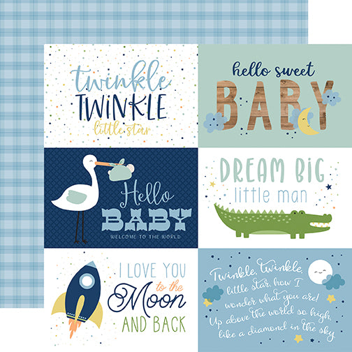 Echo Park Cut-Outs - Baby Boy - 6x4 Horizontal Journaling Cards