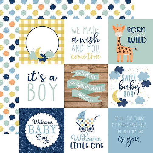 Echo Park Cut-Outs - Baby Boy - 4x4 Journaling Cards