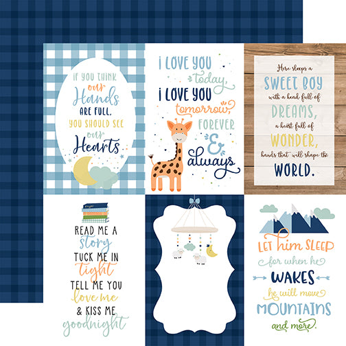 Echo Park Cut-Outs - Baby Boy - 4x6 Vertical Journaling Cards