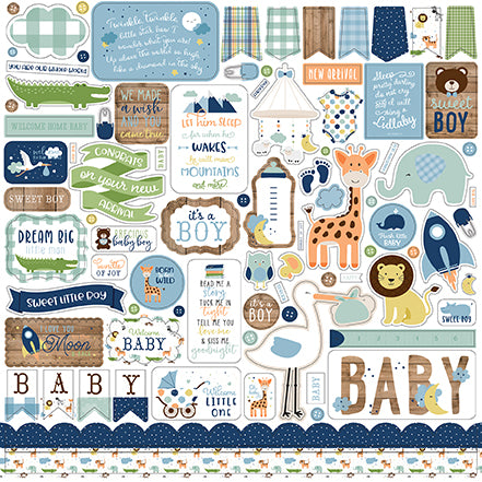 Echo Park 12x12 Cardstock Stickers - Baby Boy - Elements