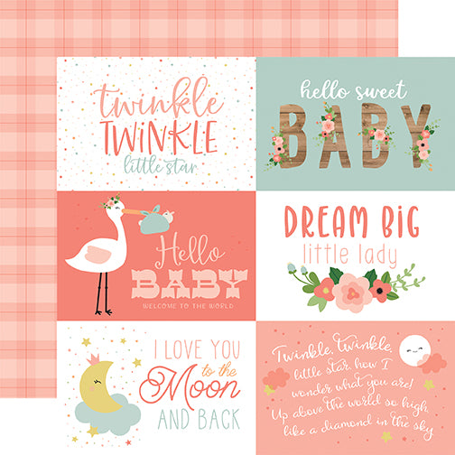 Echo Park Cut-Outs - Baby Girl - 6x4 Horizontal Journaling Cards