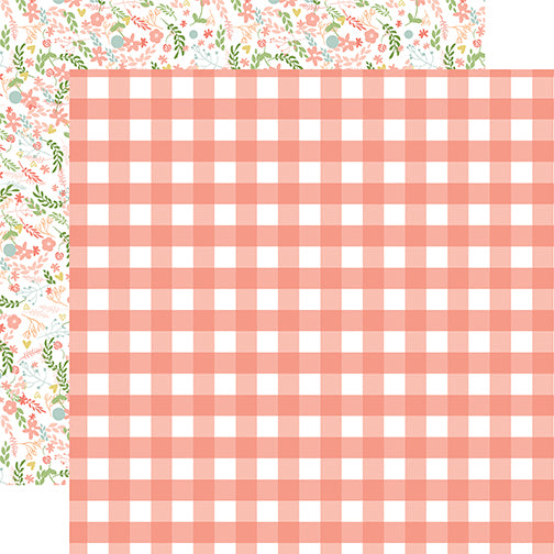 Echo Park Papers - Baby Girl - Girl Gingham - 2 Sheets