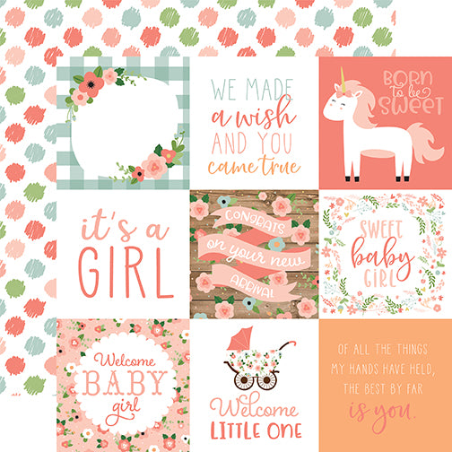 Echo Park Cut-Outs - Baby Girl - 4x4 Journaling Cards