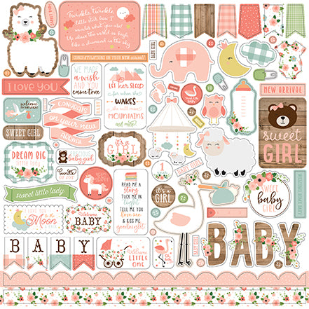 Echo Park 12x12 Cardstock Stickers - Baby Girl - Elements