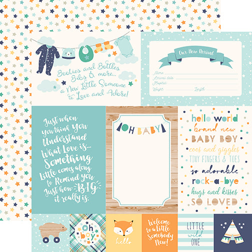 Echo Park Cut-Outs - Hello Baby Boy - 4x6 Journaling Cards