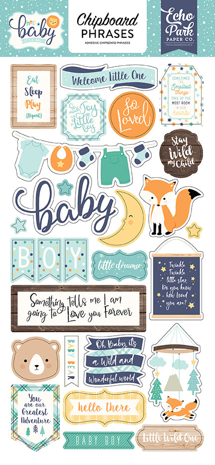 Echo Park Chipboard - Hello Baby Boy - Phrases