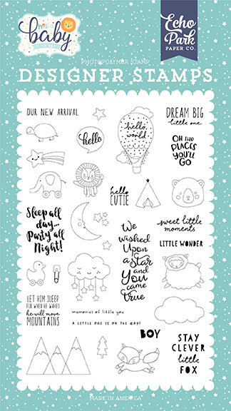 Echo Park Clear Stamp Set - Hello Baby Boy - New Arrival