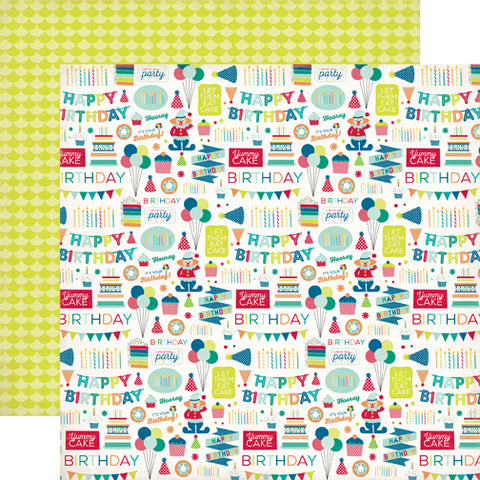 Echo Park Papers - Birthday Wishes Boy - Birthday Party - 2 Sheets