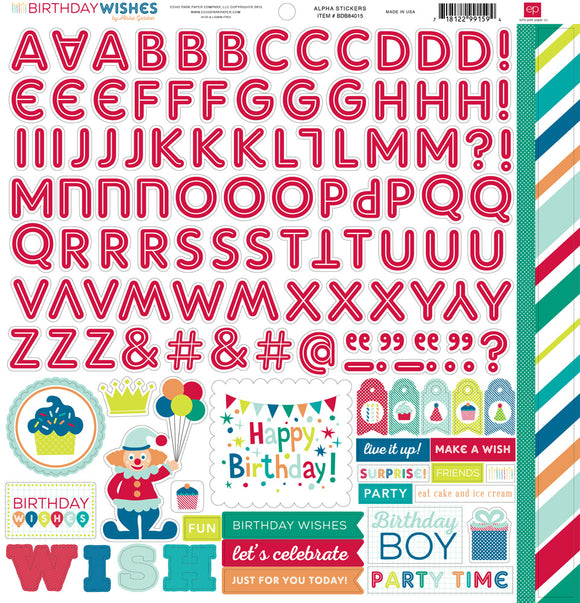 Echo Park 12x12 Cardstock Stickers - Birthday Wishes - Boy - Alpha