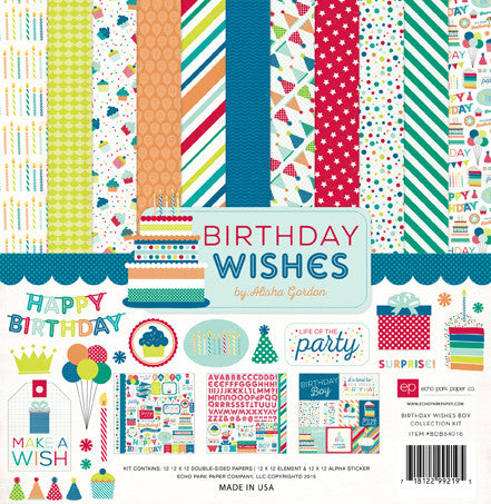 Echo Park Collection Kit - Birthday Wishes - Boy