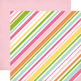 Echo Park Papers - Birthday Wishes Girl - Stripes - 2 Sheets