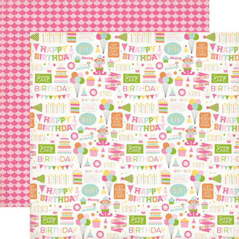 Echo Park Papers - Birthday Wishes Girl - Birthday Party - 2 Sheets