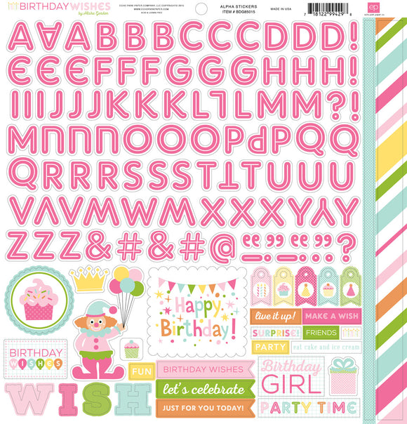 Echo Park 12x12 Cardstock Stickers - Birthday Wishes - Girl - Alpha