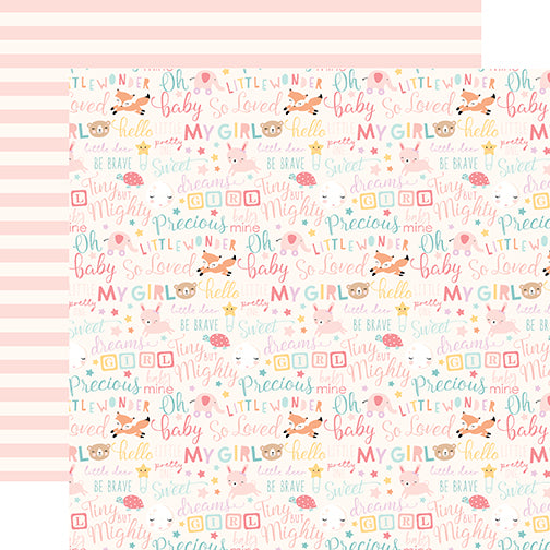 Echo Park Papers - Hello Baby Girl - Baby Girl Words - 2 Sheets