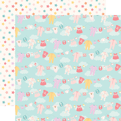 Echo Park Papers - Hello Baby Girl - Girl Clothesline - 2 Sheets