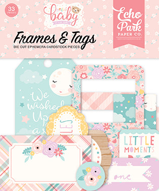 Echo Park Frames & Tags Die-Cuts - Hello Baby Girl