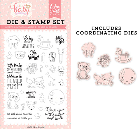 Echo Park Stamp and Die Set - Hello Baby Girl - Little Baby