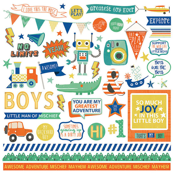 Photo Play 12x12 Cardstock Stickers - Boys Rule - Elements