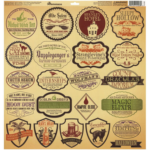 Reminisce 12x12 Cardstock Stickers - Brimstone Bulletin - Labels