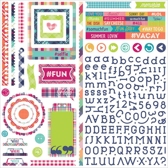 Photo Play 12x12 Cardstock Stickers - Mad 4 Plaid - Delightful - Elements