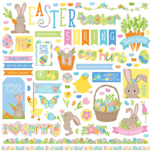Photo Play 12x12 Cardstock Stickers - Bunny Trail - Elements