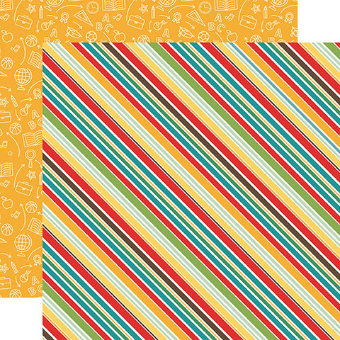 Echo Park Papers - Back to School - School Stripes - 2 Sheets
