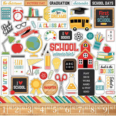 Echo Park 12x12 Cardstock Stickers - Back to School - Elements
