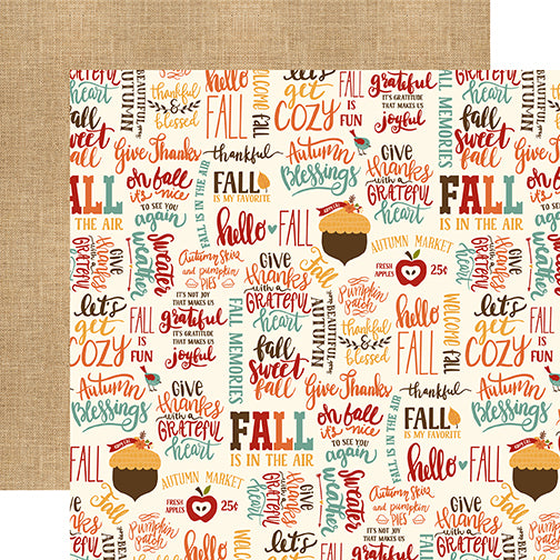 Echo Park Papers - Celebrate Autumn - Fall Is Fun - 2 Sheets