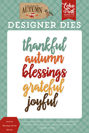 Echo Park Designer Dies - Celebrate Autumn - Autumn Blessings Word Die Set