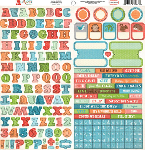 Carta Bella 12x12 Cardstock Stickers - Alphabet Junction - Alpha