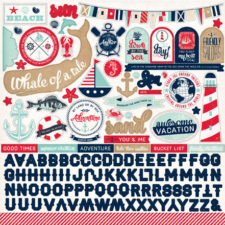 Carta Bella 12x12 Cardstock Stickers - Ahoy There - Elements