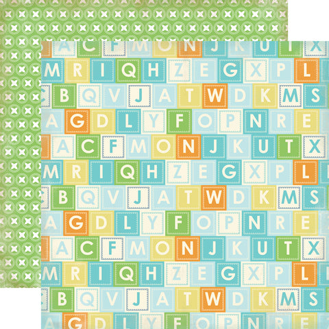 Carta Bella Papers - Baby Mine Boy - Alphabet Blocks - 2 Sheets