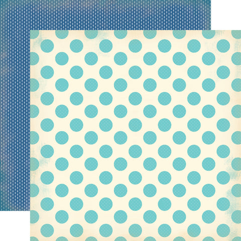 Carta Bella Papers - Baby Mine Boy - Baby Boy Dots - 2 Sheets