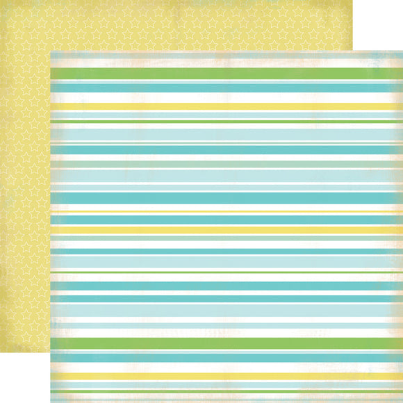 Carta Bella Papers - Baby Mine Boy - Baby Boy Stripes - 2 Sheets