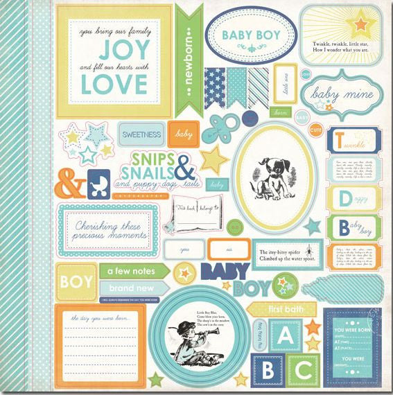 Carta Bella 12x12 Cardstock Stickers - Baby Mine - Elements - Boy