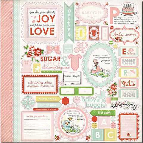 Carta Bella 12x12 Cardstock Stickers - Baby Mine - Elements - Girl