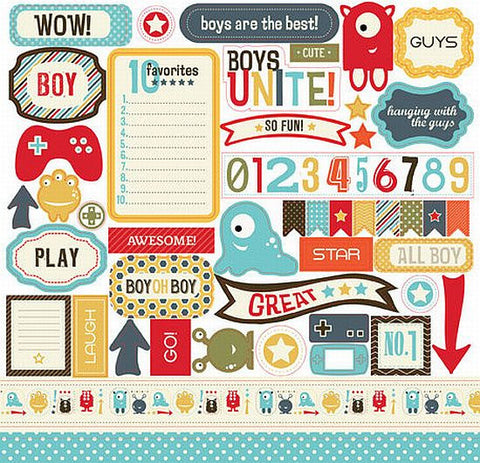 Carta Bella 12x12 Cardstock Stickers - Boy Oh Boy - Elements