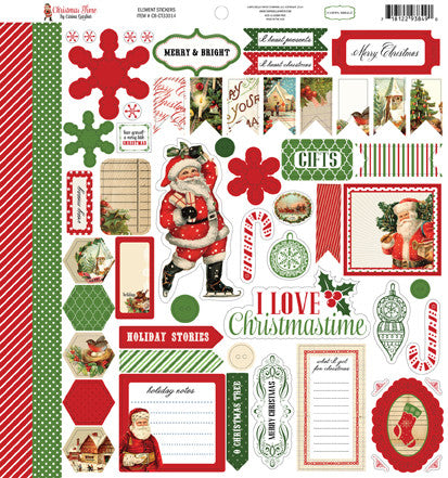 Carta Bella 12x12 Cardstock Stickers - Christmas Time - Elements
