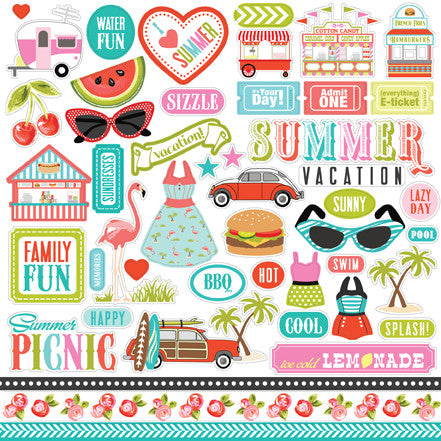 Carta Bella 12x12 Cardstock Stickers - Summer Lovin' - Elements
