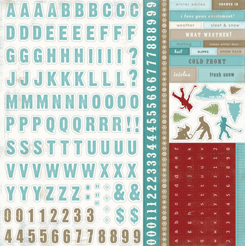 Carta Bella 12x12 Cardstock Stickers - Winter Fun - Alpha