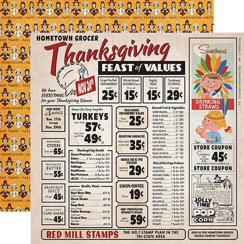 Carta Bella Papers - Autumn - Thanksgiving Feast - 2 Sheets