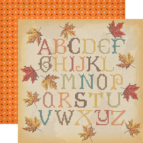 Carta Bella Papers - Autumn - Fall Stitching - 2 Sheets