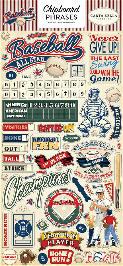 Carta Bella Chipboard - Baseball - Phrases