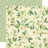 Carta Bella Papers - Botanical Garden - White Rose Spray - 2 Sheets